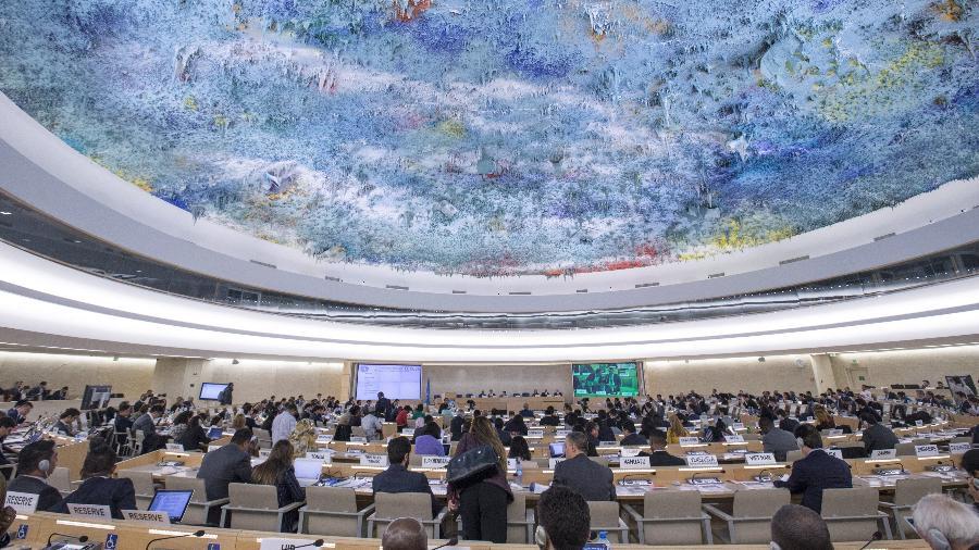 Reunião do Conselho de Direitos Humanos da ONU Imagem: Xinhua/Xu Jinquan