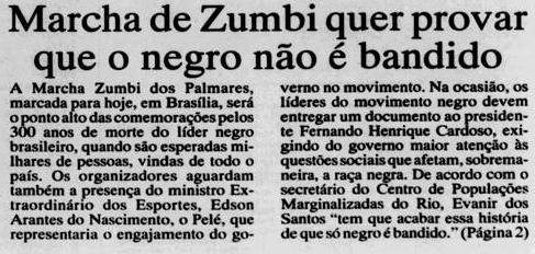 """Matéria do Jornal Tribuna da Imprensa (RJ), """"Marcha de Zumbi quer provar que o negro não é bandido"""""""