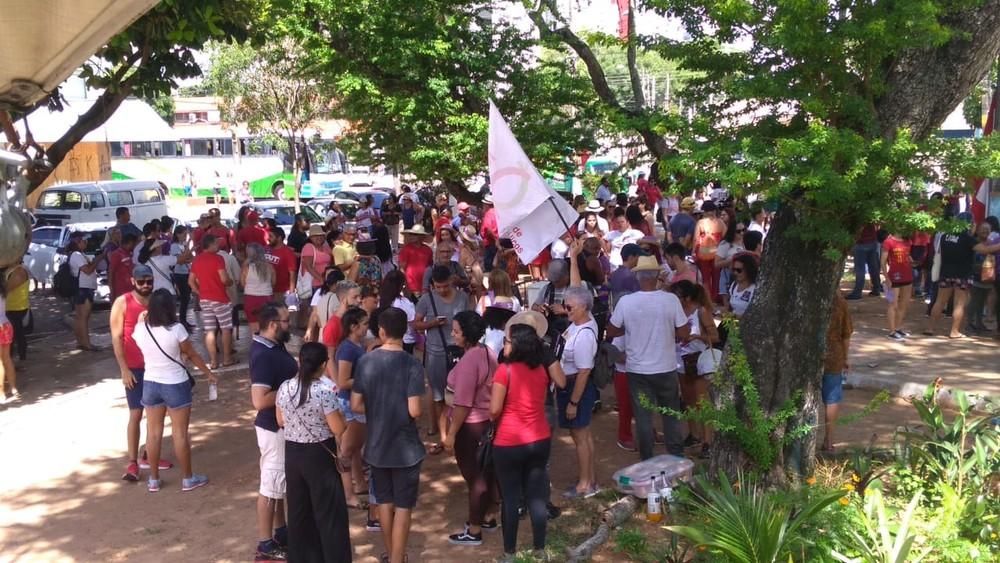 Ato de mulheres aconteceu na Praça das Flores, em Natal — Foto: Geraldo Jerônimo/Inter TV Cabugi