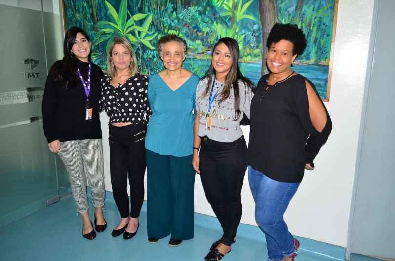 Ingra, Erika, Ester, Flávia e Jaqueline formam o time que sequenciou o gene do coronavírus. Dedicação que comprova a excelência da ciência brasileira (foto: Almir R. Ferreira /SCAPI IMT )