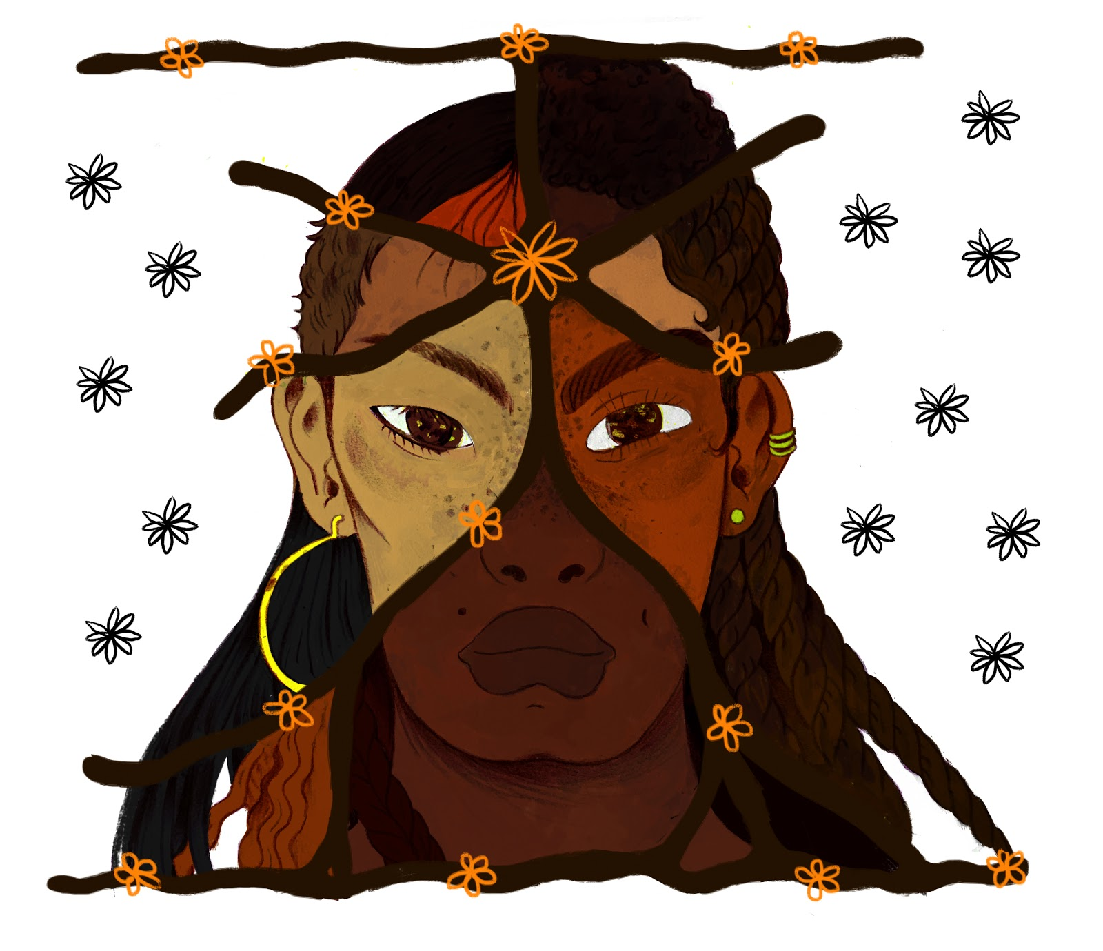 Ilustração de uma mulher com varias tonalidades de pele