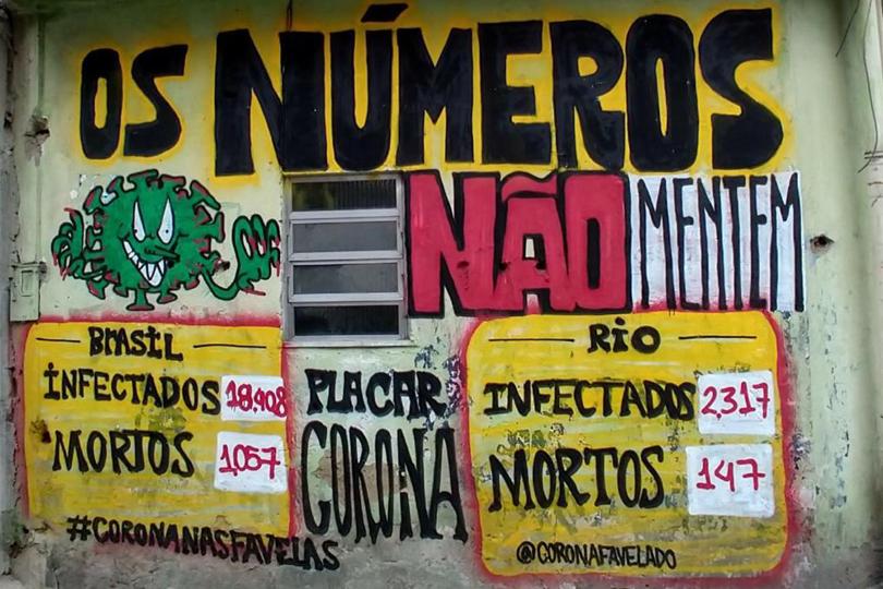 Campanha de informação sobre o coronavírus nas paredes das comunidades (Foto: Reprodução/ Frente de Mobilização da Maré)