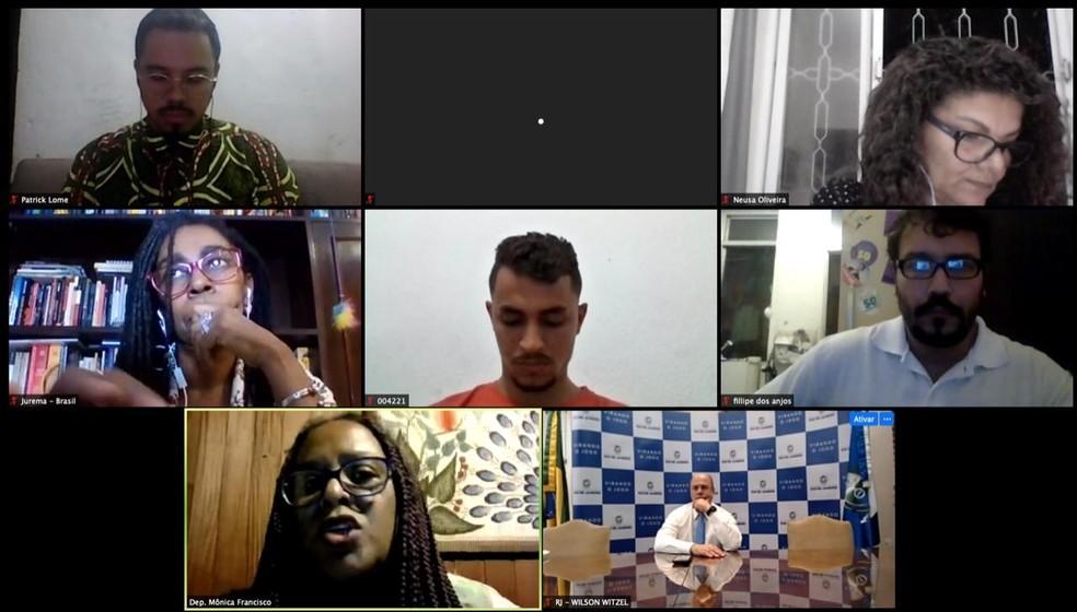 Wilson Witzel (PSC) participa de reunião virtual com lideranças comunitárias, membros da Anistia Internacional e a deputada estadual Mônica Francisco (PSOL) — Foto: Divulgação/Imagens retiradas do site G1