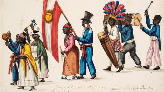 Aquarela de Pancho Fierro representando negros peruanos no século XIX.