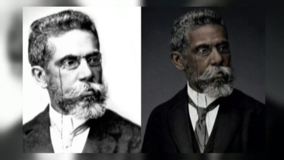 Nos últimos anos, campanhas que se destacaram na internet resgataram a origem negra de Machado de Assis — Foto: Reprodução/ TV Globo