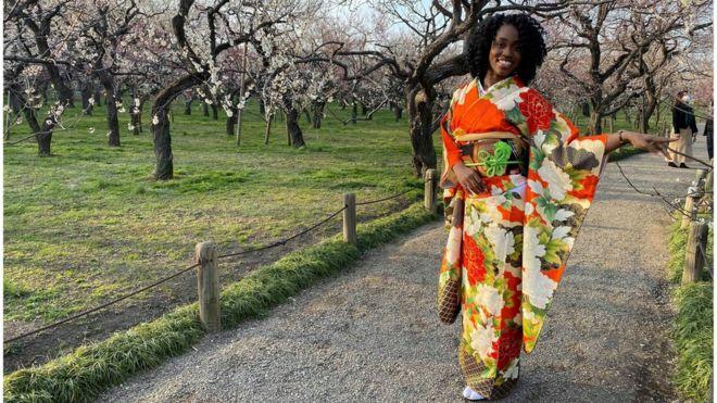 Jamaicana Danielle Thomas, de 28 anos, chegou ao Japão em 2016 (Foto: Arquivo Pessoal)