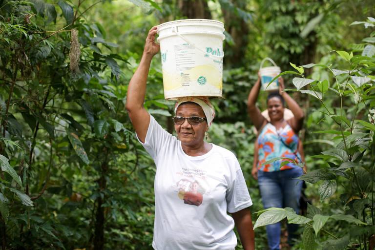Olinda de Souza Oliveira durante a coleta de água em um dos manaciais do Quilombo Rio dos Macacos (Foto: Raul Spinassé/Folhapress)
