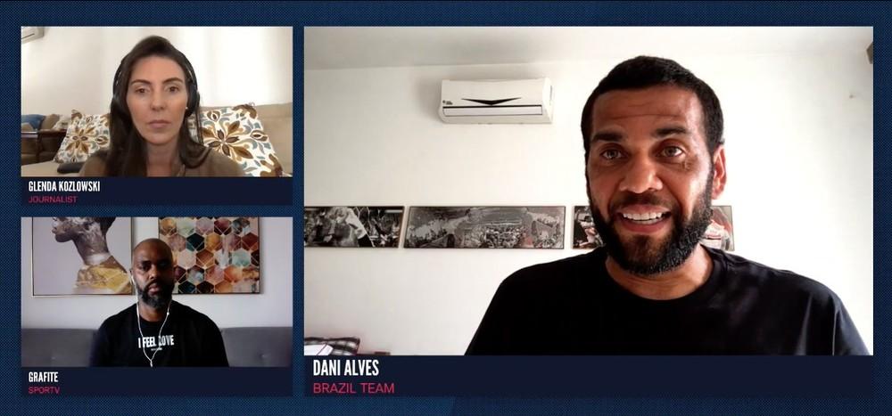 Daniel Alves, Glenda Koslowski e Grafite no debate sobre ativismo de jogadores de futebol — (Foto: Reprodução/Imagem retirada do site ge)