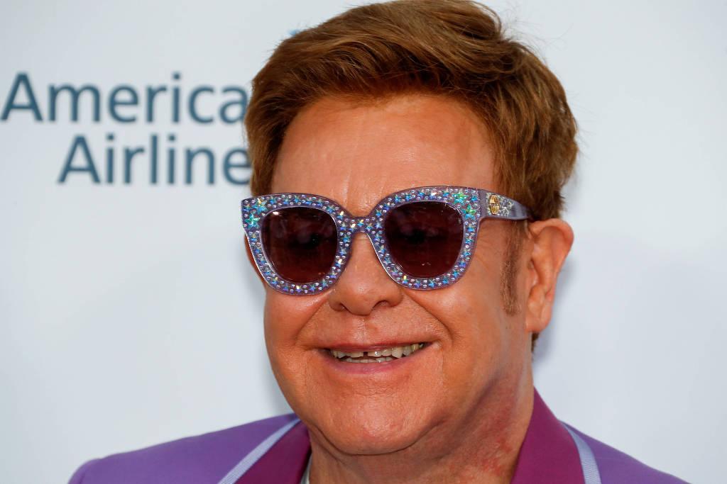 Elton John no Midsummer Party da Elton John Aids Foundation (Foto: Eric Gaillard/Reuters)
