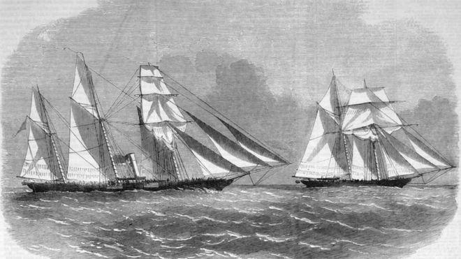 Entre 1831 e 1850, navios com a bandeira norte-americana corresponderam a 58,2% de todas as expedições negreiras com destino ao Brasil (Imagem: SLAVERYIMAGES )