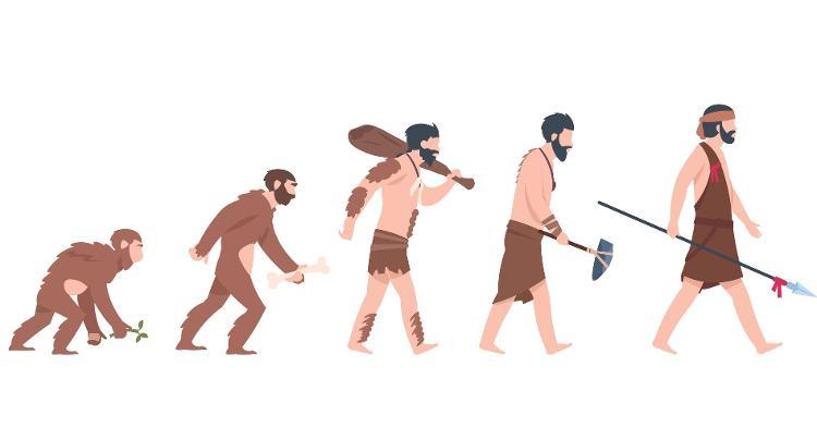 Ilustrações mostrando evolução a partir do macaco (Imagem: Getty Images/iStockphoto)
