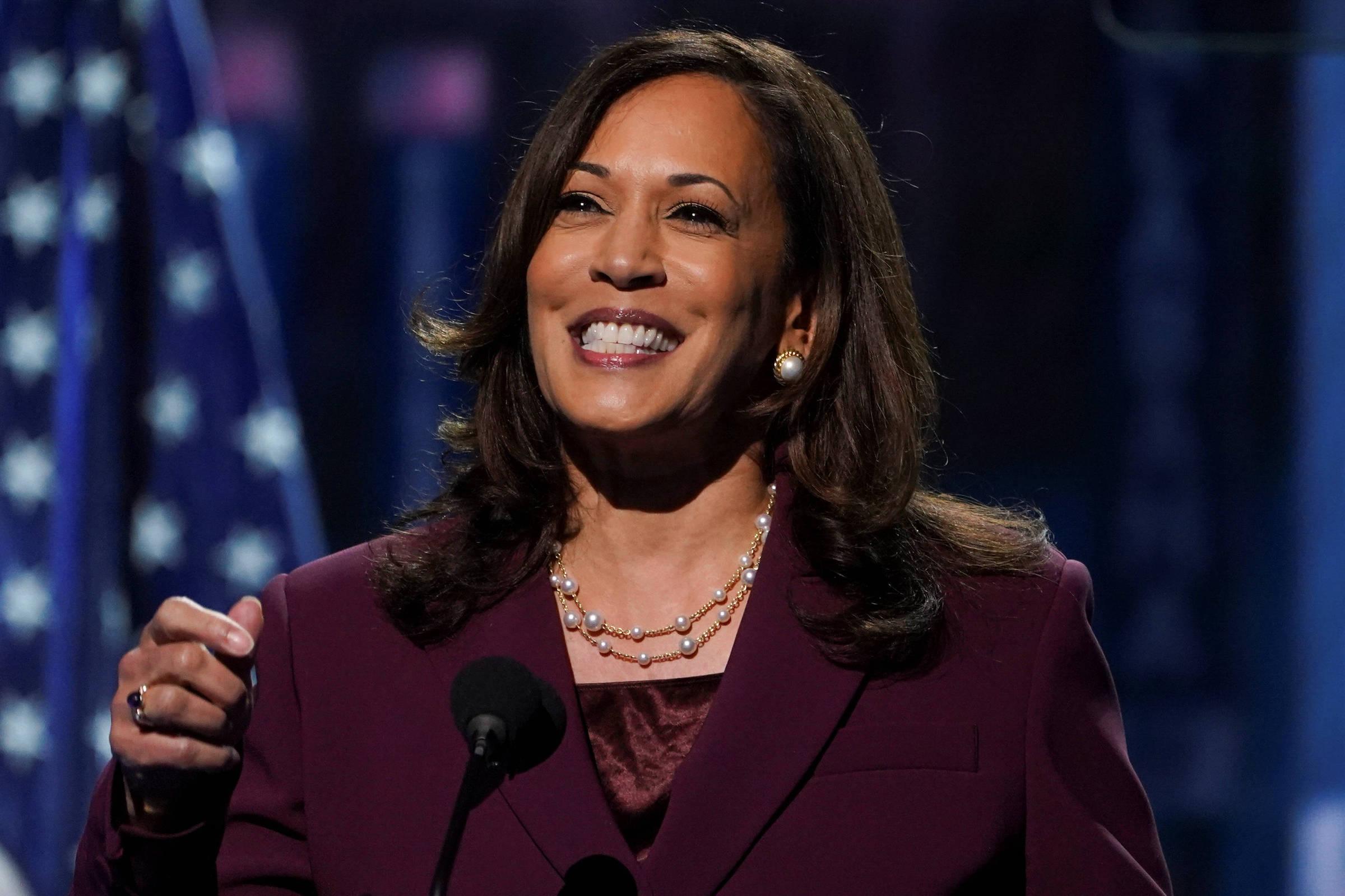 A senadora Kamala Harris discursa na convenção democrata virtual - Kevin Lamarque/Reuters