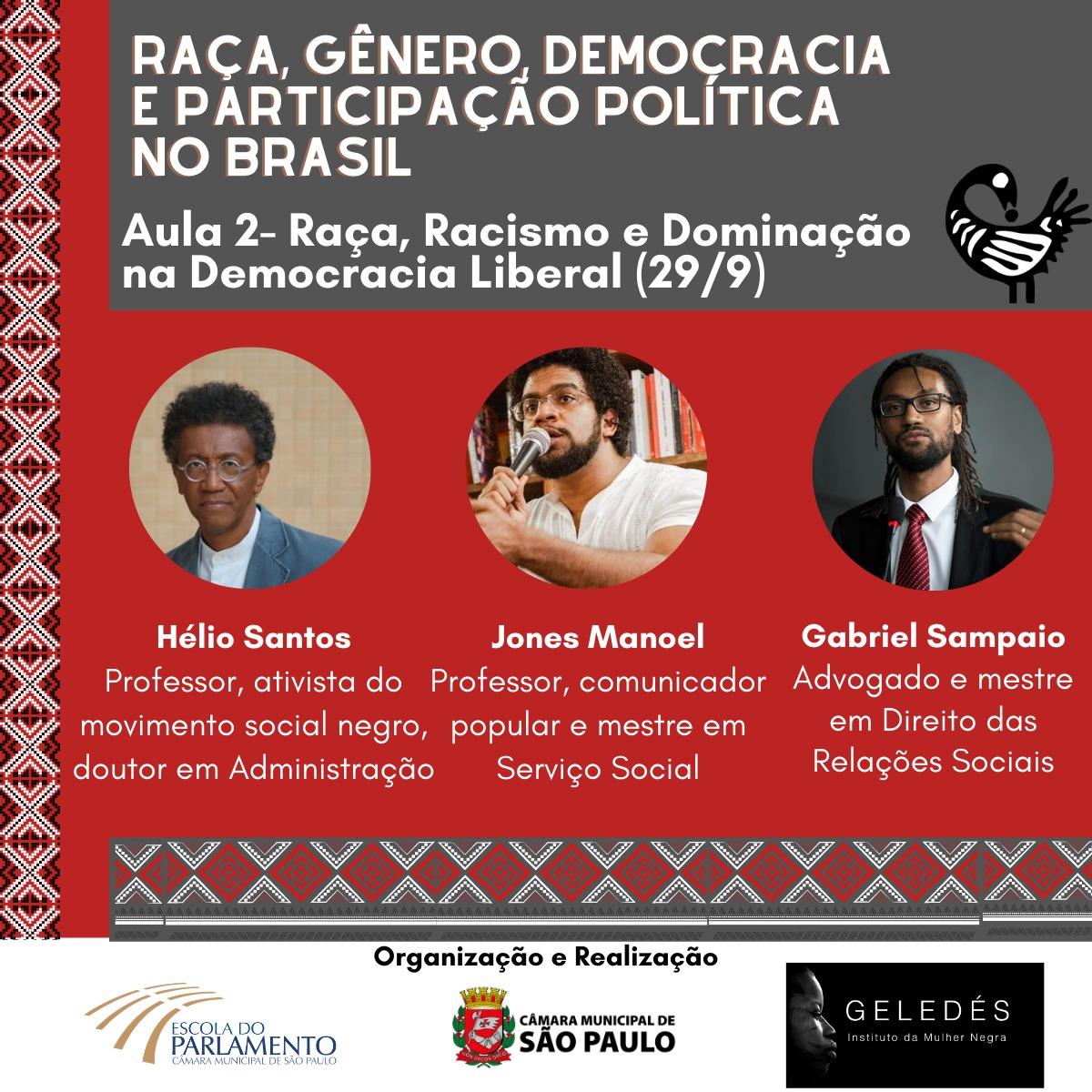 escola do parlamento Raça, gênero, democracia e participação politica no brasil