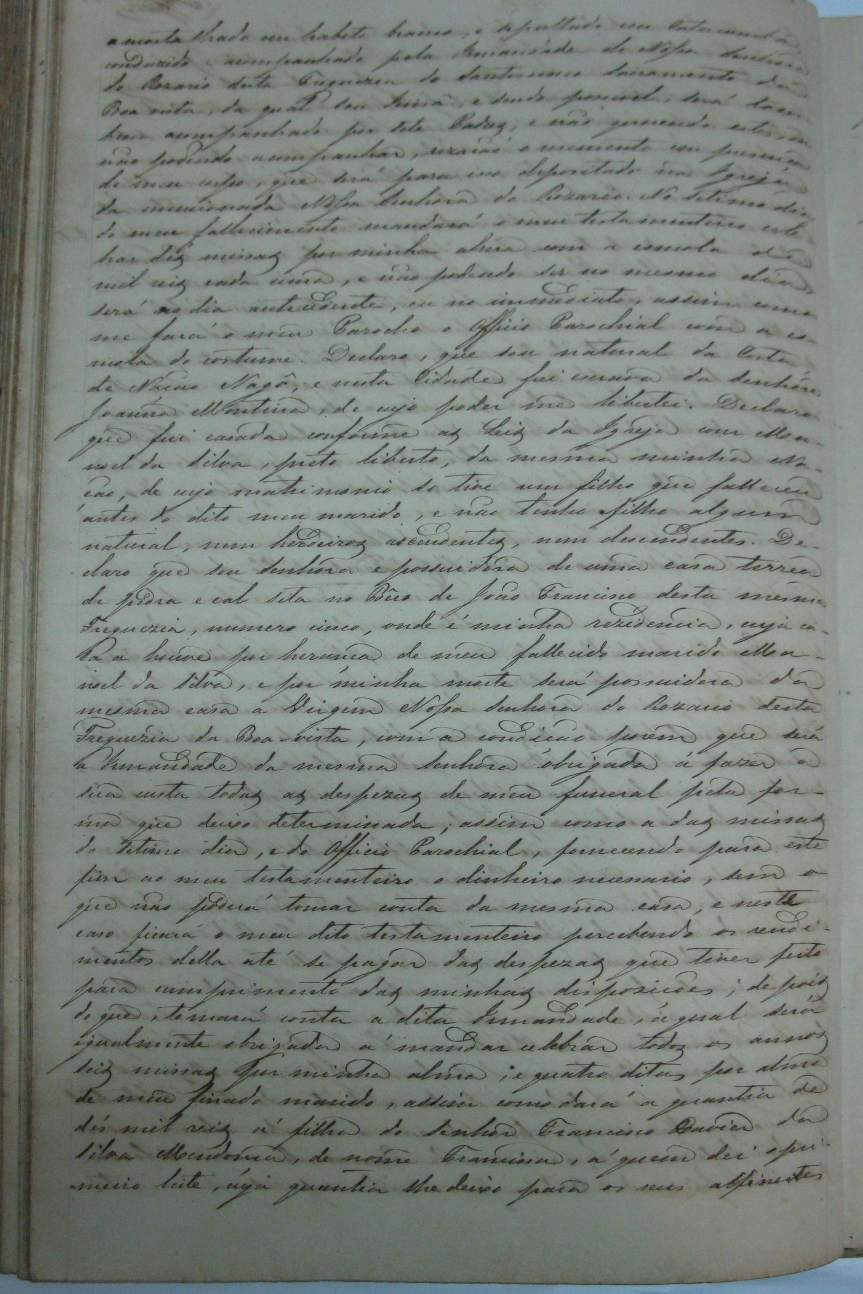 Registro de Testamento de Antônia Monteiro (fotografia de Valéria Costa)