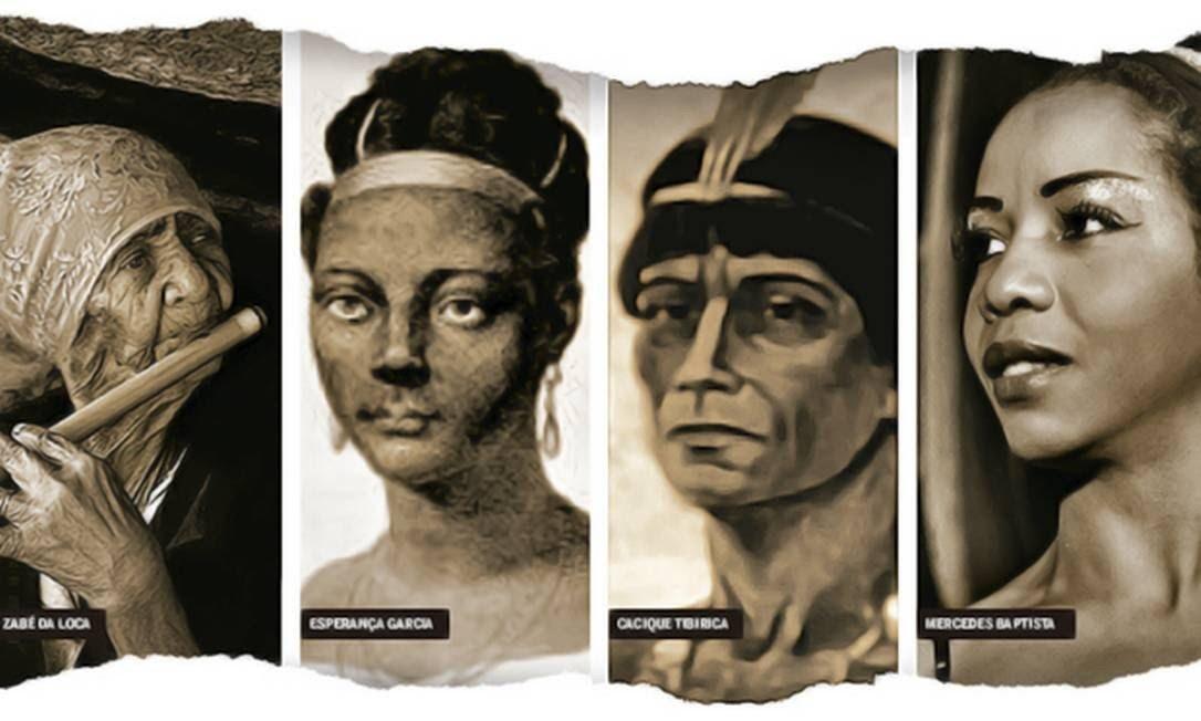 Dicionário biográfico 'Excluídos da História' reúne 2.251 verbetes sobre personagens raramente estudados pela historiografia oficial do Brasil Foto: Arte sobre fotos de divulgação