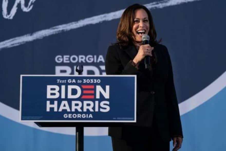 A candidata democrata à vice-presidência dos Estados Unidos Kamala Harris durante um discurso de campaha na Universidade de Atlanta, Georgia, em 23 de outubro de 2020 (Imagem: afp_tickers)