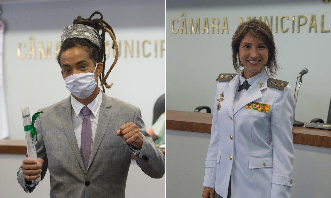 Os vereadores Matheus Gomes (PSOL) e Comandante Nádia (DEM) trocaram farpas na Câmara de Porto Alegre, após a bancada do PSOL se recusar a cantar o hino do estado Foto: Divulgação / Câmara Municipal de Porto Alegre