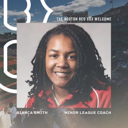 Bianca Smith, primeira treinadora negra da história do beisebol profissional nos EUA Imagem: Divulgação/Boston Red Sox