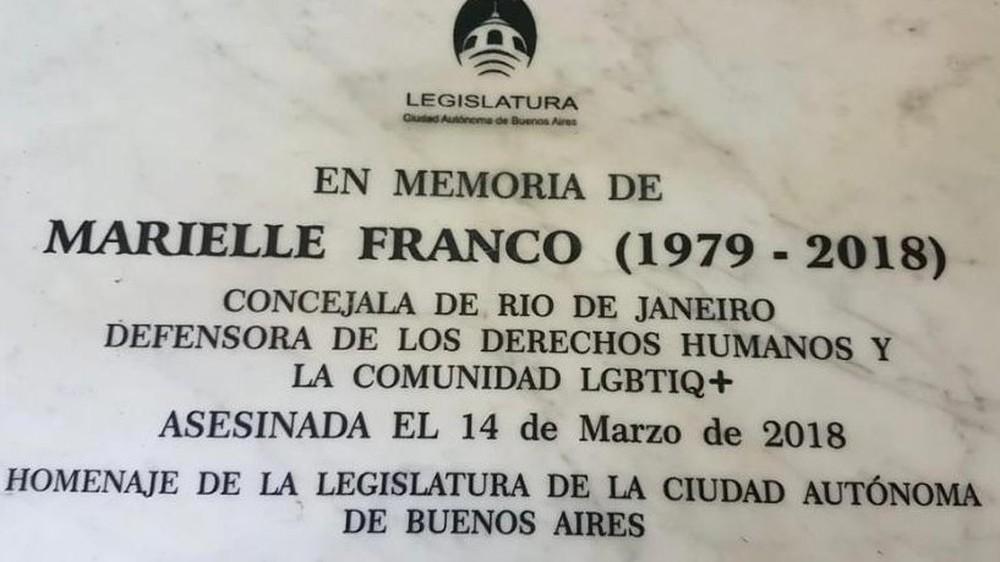 Homenagem a Marielle Franco no metrô de Buenos Aires — Foto: Imagem retirada do site G1