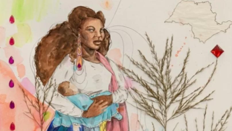 Ambrosina, aqui retratada pela artista Renata Felinto, era ama-de-leite em Taubaté (SP) no final do século 19; foi acusada de assassinar Benedito, filho dos patrões, tendo preferido amamentar seu próprio filho (Arte: Renata Felinto)