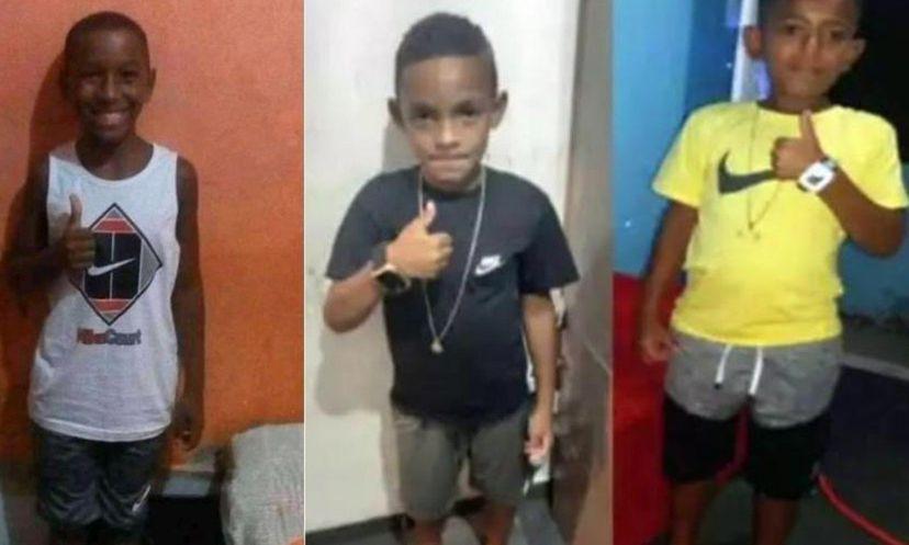 Montagem com as fotos dos três meninos desaparecidos no dia 27 de dezembro, em Belford Roxo. (REPRODUÇÃO / FACEBOOK)