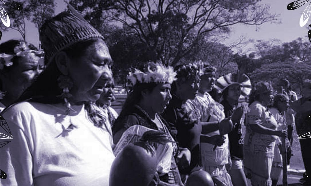 Mulheres indígenas do Movimento das Mulheres Guarani Kaiowá kunhangue Aty em manifestação contra a violência (Foto: Imagem retirada do site O Globo)