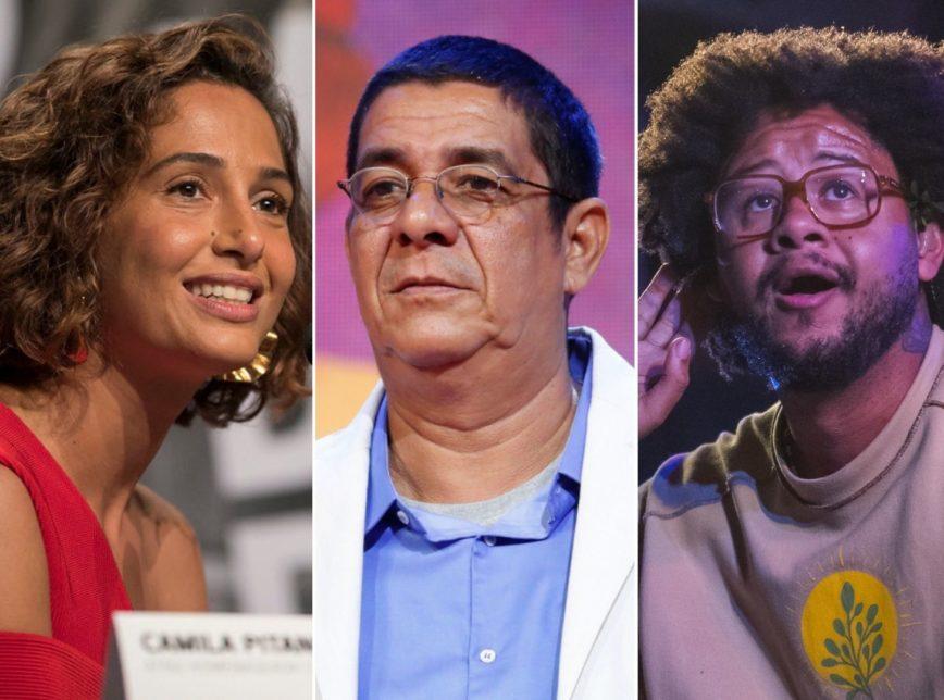 A atriz Camila Pitanga e os cantores Zeca Pagodinho e Emicida são alguns dos apoiadores de campanha do movimento negro contra a fome (Imagem: Divulgação/Mostra de Tiradentes, Roberto Filho/WikiMedia Commons e WikiMediaCommons)