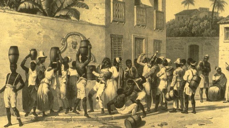 Escravizados urbanos coletando água no Brasil da década de 1830 (Foto: JOHANN MORITZ RUGENDAS/SLAVERY IMAGES)