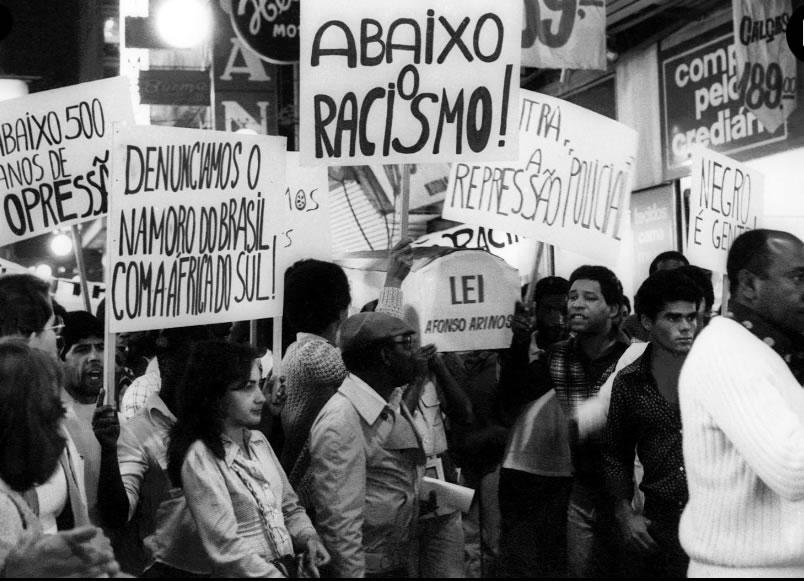 Primeiros atos do MNU comparavam o Brasil ao apartheid sul-africano. (Foto: Jesus Carlos via Memorial da Democracia)