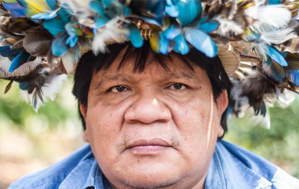 Almir Suruí, indígena em Rondônia — Foto: Gabriel Uchida/ Kanindé