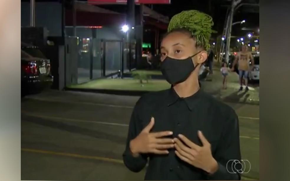 Kássia Morgana Rodrigues denuncia ter sido vítima de racismo em bar de Anápolis (Foto: Reprodução/TV Anhanguera)