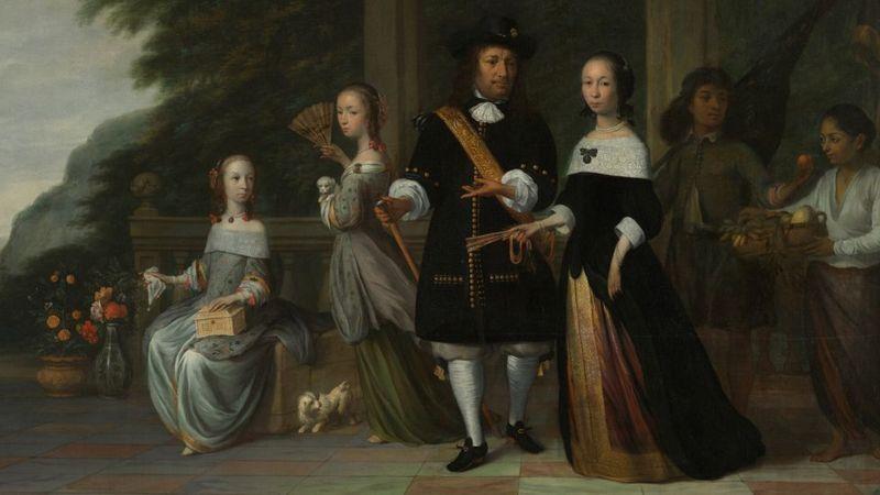 Pieter Cnoll com a família e seus criados escravizados — pintura de Jacob Coeman (Foto: RIJKSMUSEUM)